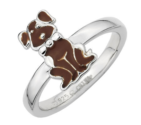 Simply Stacks Sterling Brown Epoxy Enamel Sitting Dog Ring
