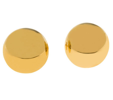 Veronese 18K Clad Polished 10mm Round Button Earrings