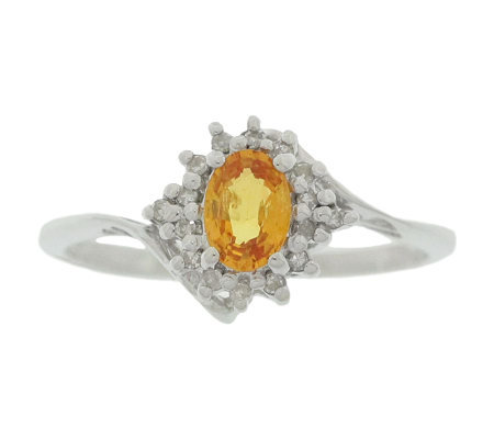 Sterling Yellow Sapphire and Diamond Accent Ring