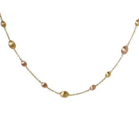 "Arte d'Oro 36"" Two-tone Satin Bead Necklace, 18K Gold, 33.0g"