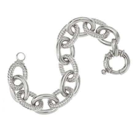 """As Is"" Italian Silver Sterling 7-1/4"" Bold Rolo Link Bracelet,34.40g"