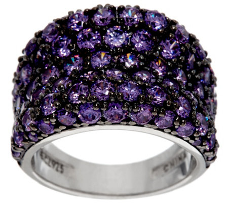 Diamonique Simulated Amethyst Band Ring, Sterling