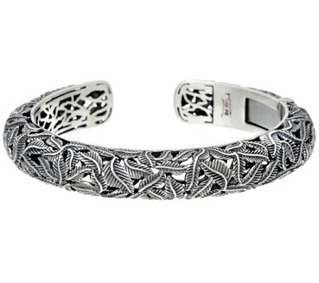 Or Paz Sterling Silver Vine Design Hinged Cuff 38.00g