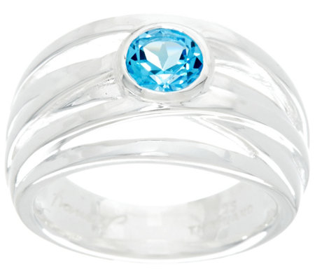 Franco P Sterling 0.90 cctw Round Blue Topaz Infinity Ring