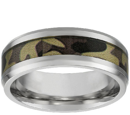 Stainless Steel Men's Band Ring w/ Camouflage Design