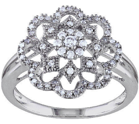 Diamond Floral Design Ring, 1/3cttw, 14K, by Affinity