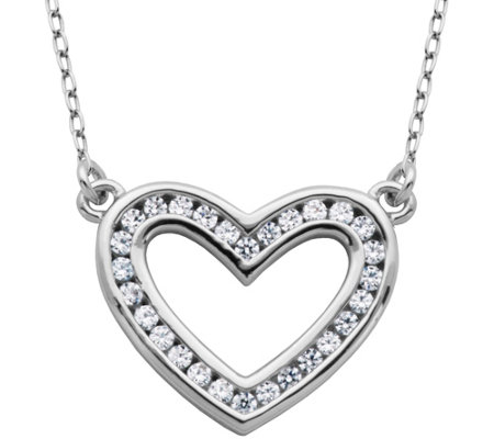 "Diamonique 4/10 cttw Open Heart 18"" Necklace, Sterling"