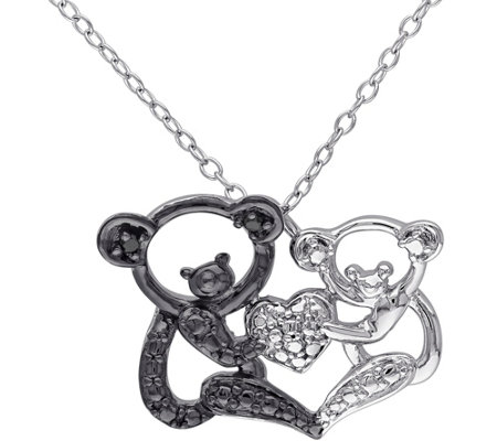 Black Diamond Accent Koala Bear Pendant w/ Chain, Sterling