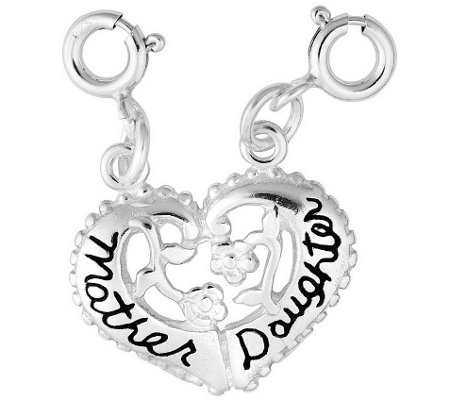 Sterling Mother, Daughter Split Heart Charm