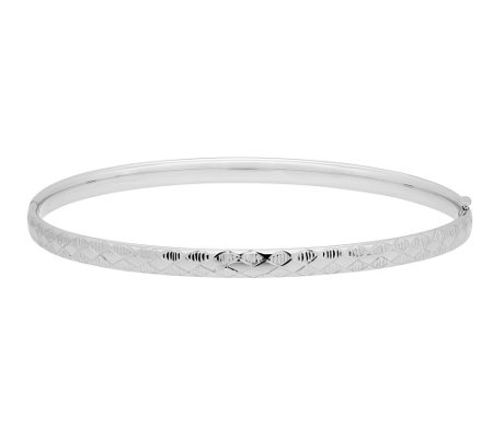 "EternaGold 8"" Argyle Pattern Bangle, 14K WhiteGold"