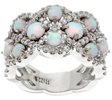 Diamonique and Synthetic Opal Band Ring, Sterling