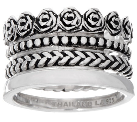 Sterling Silver 4 Row Textured and Polished Band Ring by Silver Style
