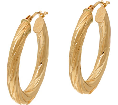 14K Gold Oval Twist Hoop Earrings