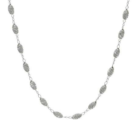 Ultrafine Silver 18 Diamond Cut Bead Neckalce 5 0g