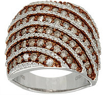 Pave' Colored Diamond Wide Ring, Sterling, 1.50 cttw by Affinity - J349981