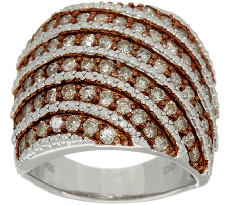 Pave' Colored Diamond Wide Ring, Sterling, 1.50 cttw by Affinity