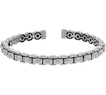 JAI Sterling Silver Box Chain Hinged Cuff, 20.3g - J350281