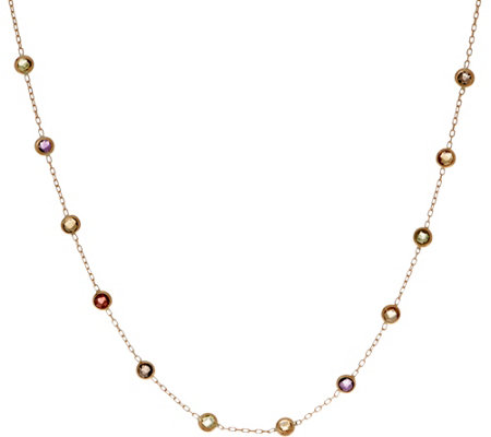 "Italian Gold 18"" Gemstone Station Necklace, 14K Gold 1.3g"