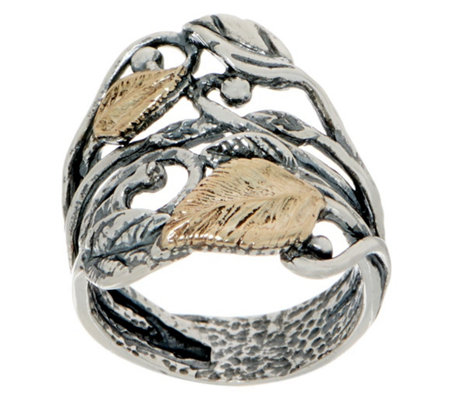 Or Paz Sterling Silver 14K Gold Leaf Ring