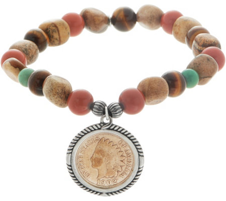 American West Sterling Silver Copper Native American Coin Bracelet