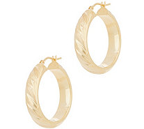 "Italian Gold 1"" Satin Twist Hoop Earrings, 14K Gold - J356481"