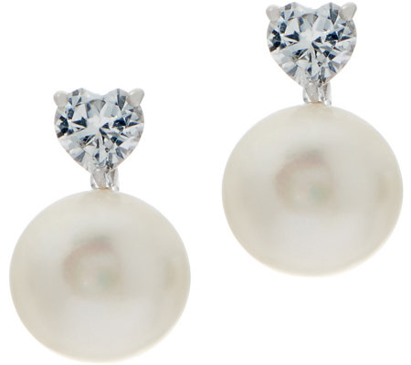 """As Is"" Honora Cultured Pearl & White Topaz Earrings, Sterling Silver"
