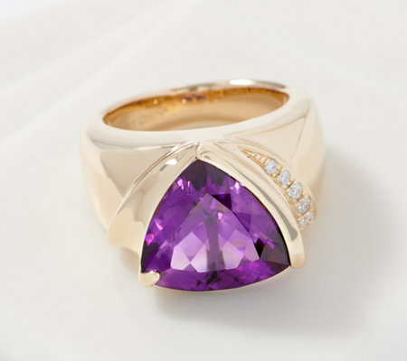 Trillion-Cut Gemstone & Diamond Ring, 5.00 cttw