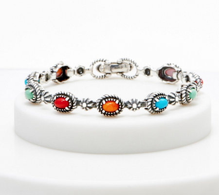 American West Sterling Silver Multi Gemstone Sunrise Tennis Bracelet