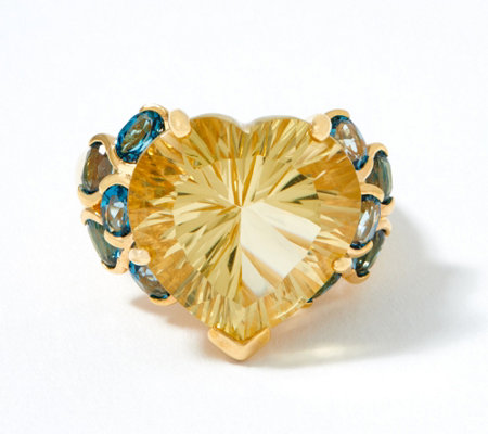 Champagne Quartz Blue Topaz Ring 12 30 Cttw 18k Gold Plated