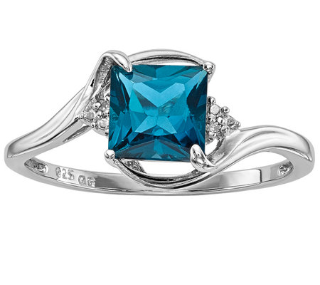 Sterling 1.35 ct London Blue Topaz & Diamond Accent Ring