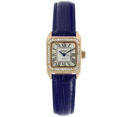 Peugeot Women's 14K Gold-Plated Stainless Square Leather Watch