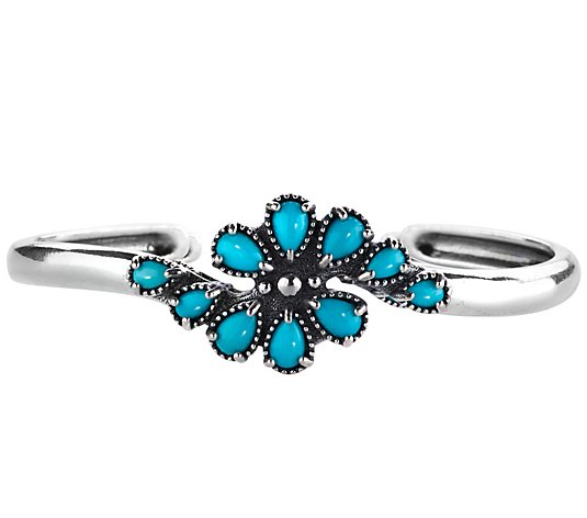 American West Sterling Sleeping Beauty Turquoise Cluster Cuff