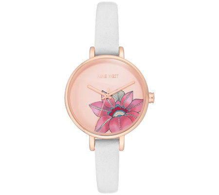 Nine West Women's Rosetone Floral White Strap Watch
