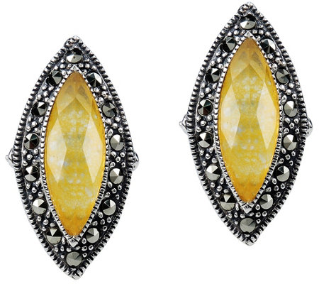 Suspicion Sterling Quartz Doublet & Marcasite Earrings