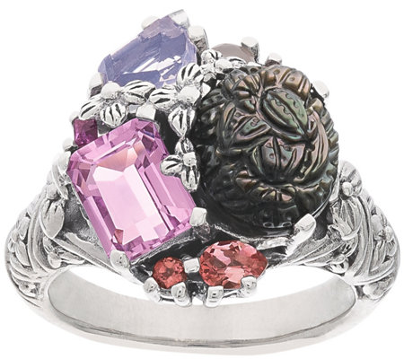 Stephen Dweck Carved Gemstone Cluster Ring