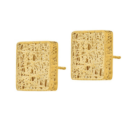 Italian Gold Square Textured Post Earrings, 14K