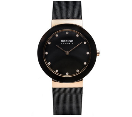 Bering Women's Rosetone & Black Mesh Bracelet Watch