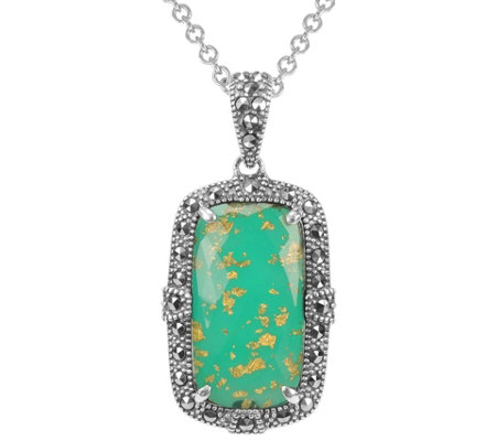 Suspicion Sterling Green Agate Marcasite Pendant