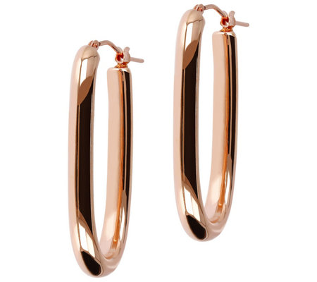 Oro Nuovo Polished Elongated Oval Hoop Earrings 14k Gold