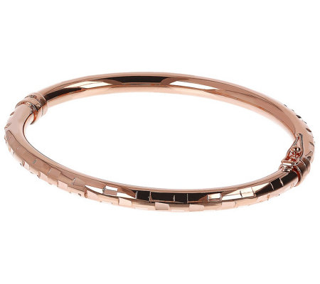 Bronzo Italia Diamond Cut Oval Bangle