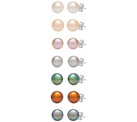 Steel by Design Set of Seven Cultured Pearl Earrings