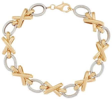 """As Is"" 14K Gold 6-3/4"" Status Link ""XO"" Design Bracelet, 5.7g"