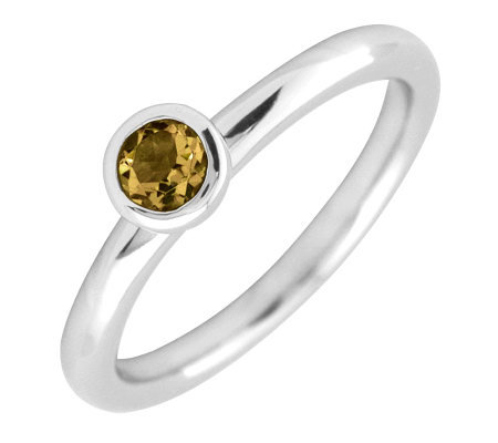 Simply Stacks Sterling 4mm Round Citrine Solitaire Ring