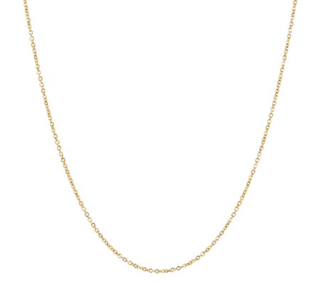"24"" Fine Polished Oval Rolo Link Chain,14KGold"