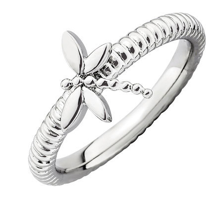 Simply Stacks Sterling Dragonfly Textured Ring