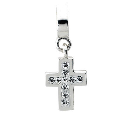 Prerogatives Sterling Swarovski Crystal Cross Dangle Bead