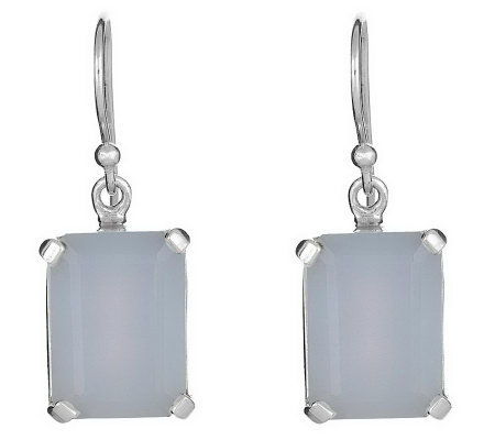 Sterling Emerald Cut Gemstone Drop Earrings