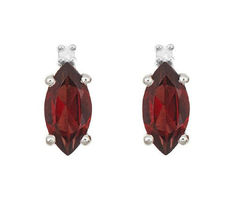 Sterling Silver Marquise Gemstone &Diamond Accent Stud Earrin