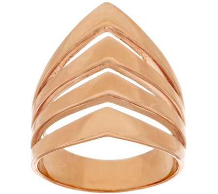 Bronze Polished Chevron Design 4-Row Tapered Band Ring by Bronzo Italia