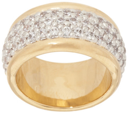 Oro Nuovo Pave' Crystal Polished Band Ring, 14K